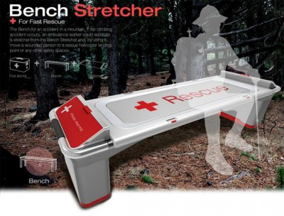 The Bench Stretcher is a bench placed in mountainous regions that doubles as a stretcher in case of emergency