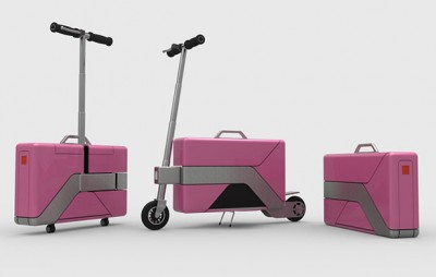 The electric powered person vehicle/briefcase is very stylish and comes in a variety of colors