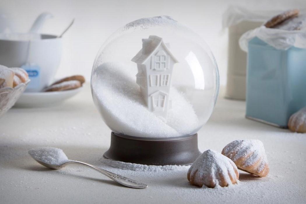 Creative Sugar Canister Holiday Snow Globe Kitchen Decor Multipurpose