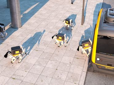 VAN DROPS ROBOT DOGS TO DELIVER PACKAGES