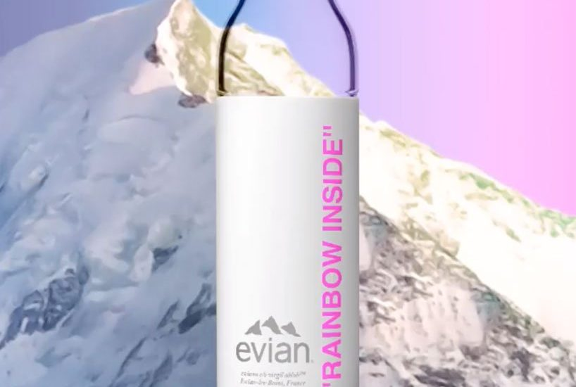 evian glass and bamboo