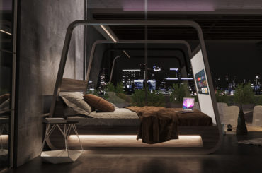AMAZING LOOKING TV BED WITH ENTERTAINMENT SYSTEM