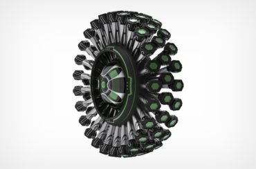 ALL TERRAIN TIRE CONCEPT THAT LOOKS LIKE A DANDELION WITH 72 LEGS