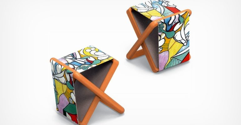 THIS FOLDABLE STOOL CONVERTS INTO A FRAMED PICTURE